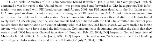 The 9/11 Commission Report's Full Treatment of the Doug Miller CIR Incident: Footnote 44, Chapter 6