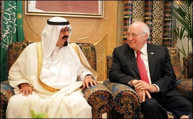 Cheney with King Abdullah in 2005